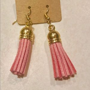 Jewelry - GOLD PINK or WHITE LEATHER BOHO DANGLE TASSEL EARR